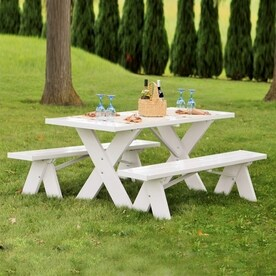 Dura Trel 72 In White Rectangle Picnic Table