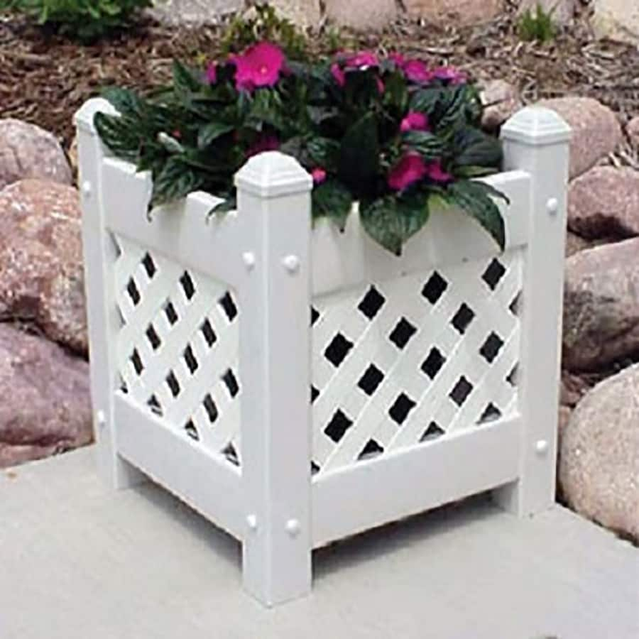 Dura-Trel 12-in x 16-in White Green Pvc Vinyl Planter