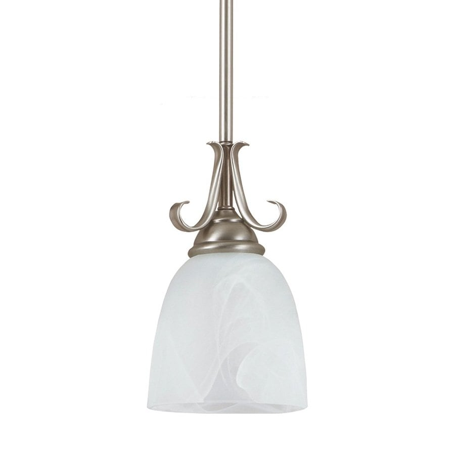 Sea Gull Lighting Lemont 5-in Antique Brushed Nickel Vintage Mini Alabaster Glass Bell Pendant
