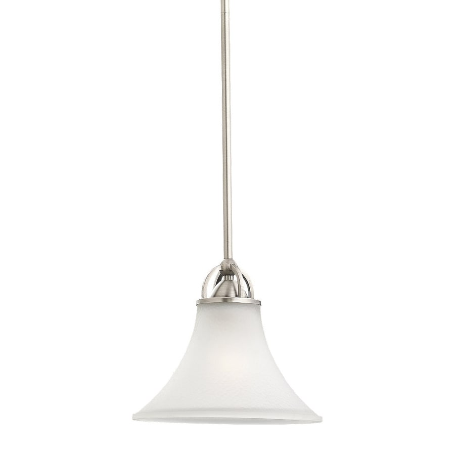 Sea Gull Lighting Somerton 9-in Antique Brushed Nickel Mini Etched Glass Bell Pendant
