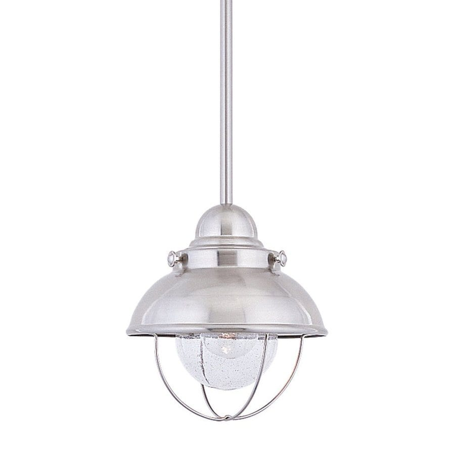 Sea Gull Lighting Sebring 8-in Brushed Stainless Barn Mini Seeded Glass Warehouse Pendant