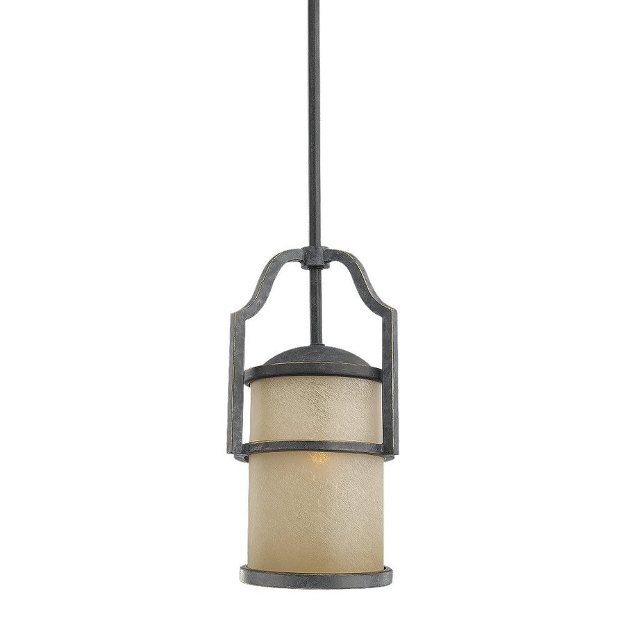 Sea Gull Lighting Roslyn 7-in Flemish Bronze Mediterranean Mini Tinted Glass Cylinder Pendant