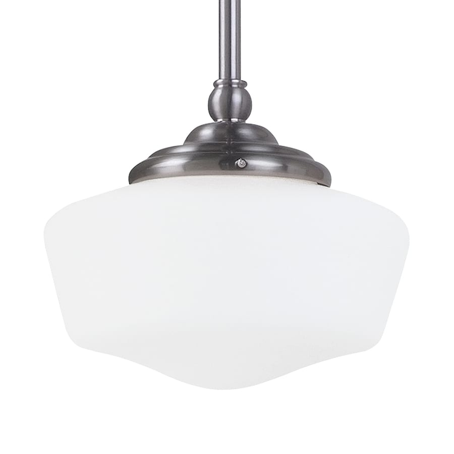 Sea Gull Lighting Academy 6.75-in Brushed Nickel Vintage Mini Schoolhouse Pendant