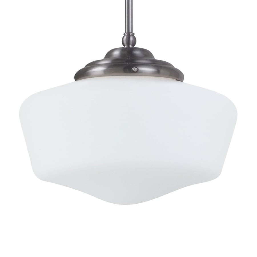Sea Gull Lighting Academy 11.5-in Brushed Nickel Vintage Single Schoolhouse Pendant