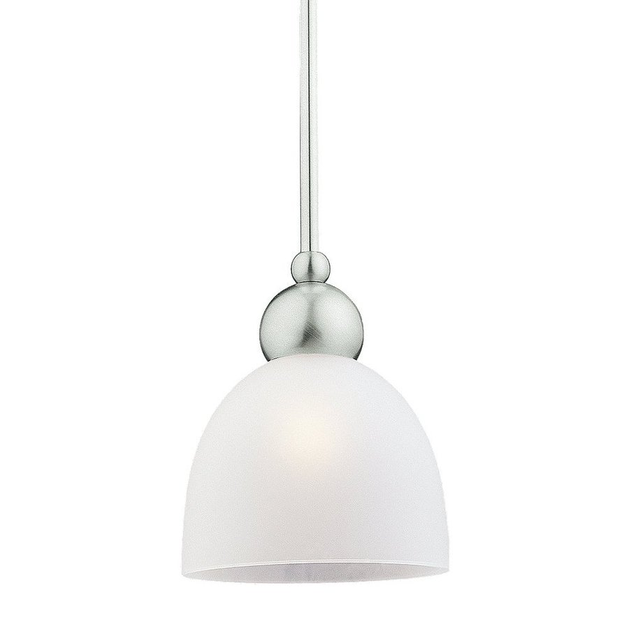 Sea Gull Lighting Metropolis 6.5-in Brushed Nickel Mini Etched Glass Bell Pendant