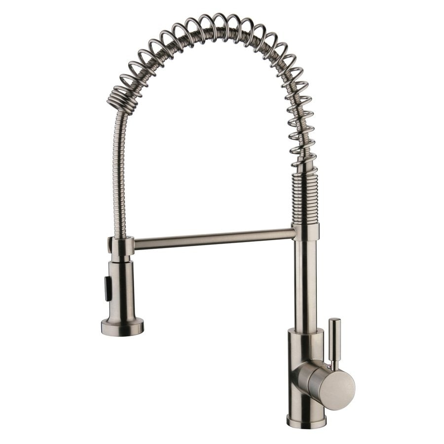 Yosemite Home Decor Brushed Nickel 1-Handle Deck Mount Pull-Out Kitchen Faucet