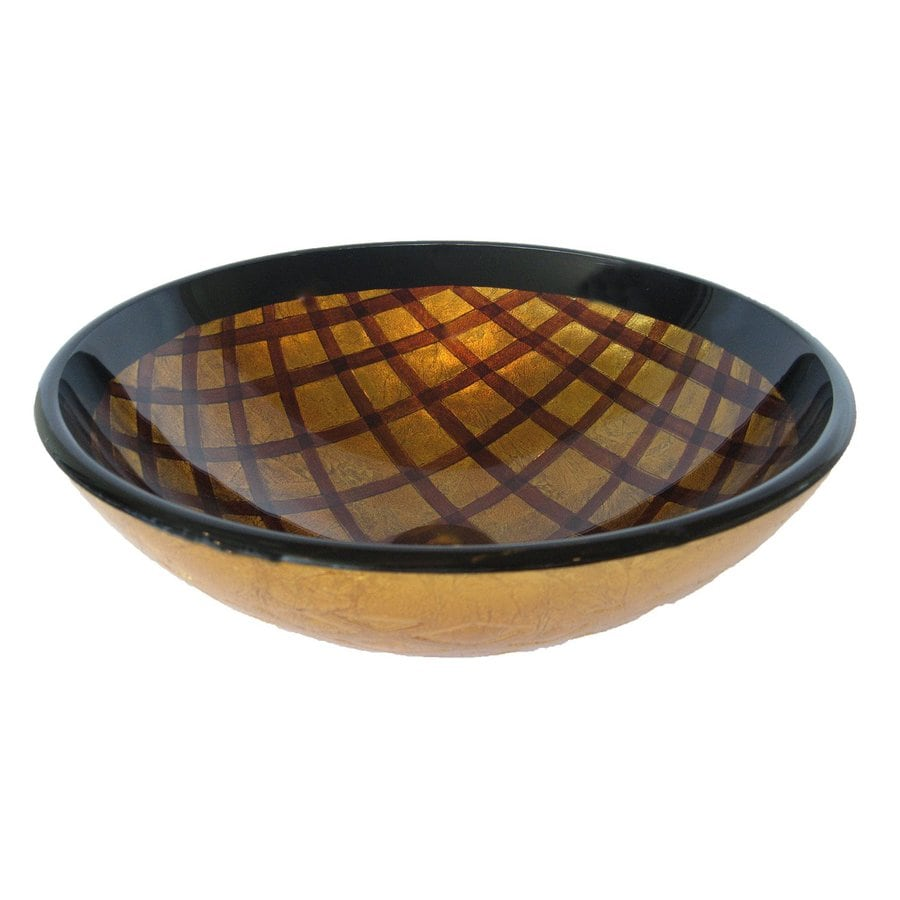 Novatto Grata Gold/Brown Tempered Glass Vessel Round Bathroom Sink