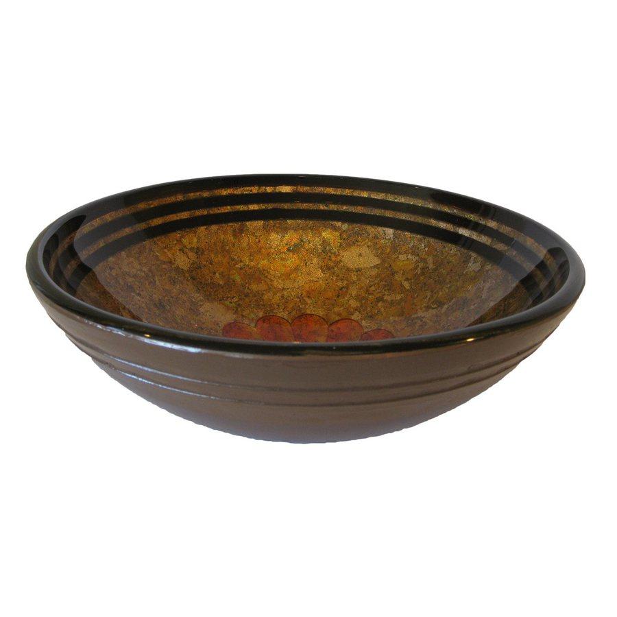 Novatto Tappezzeria Brown/Orange Tempered Glass Vessel Round Bathroom Sink
