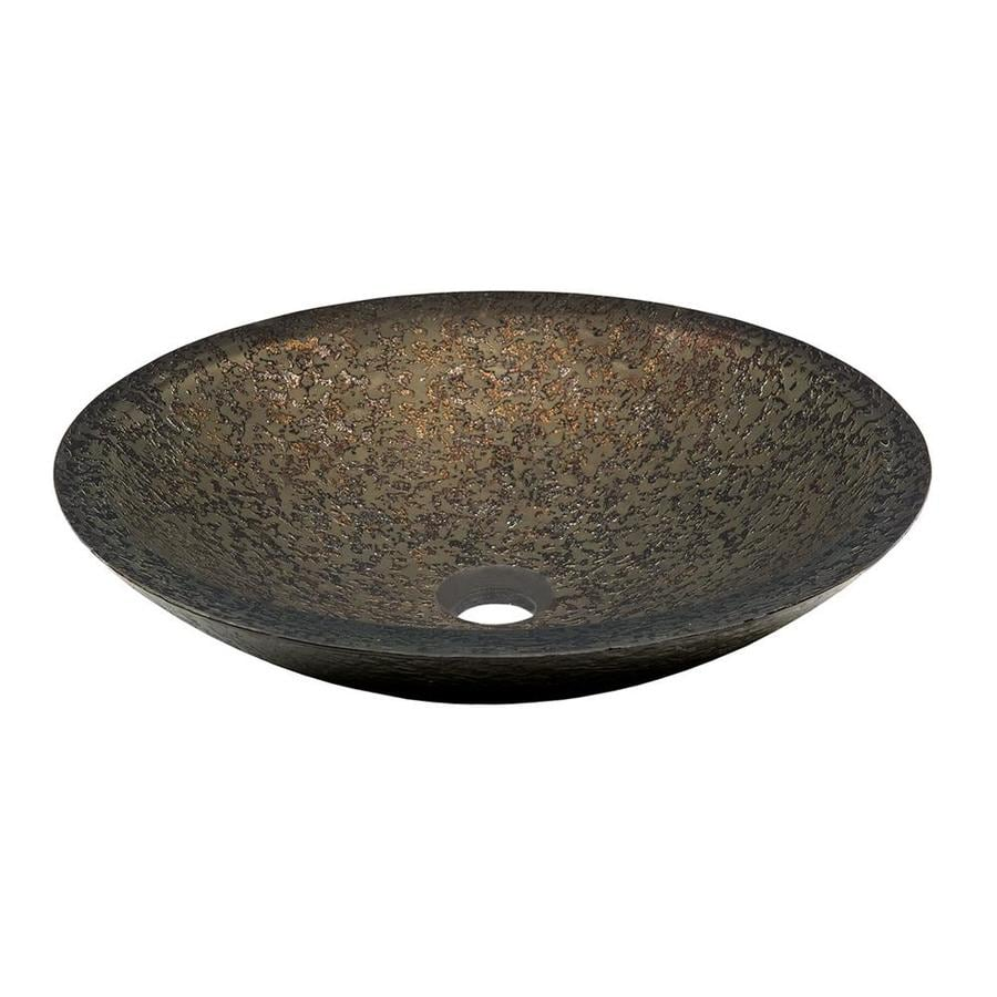 Shop Novatto Laghetto Brown Gold Forest Green Tempered Glass Vessel Round Bathroom Sink At