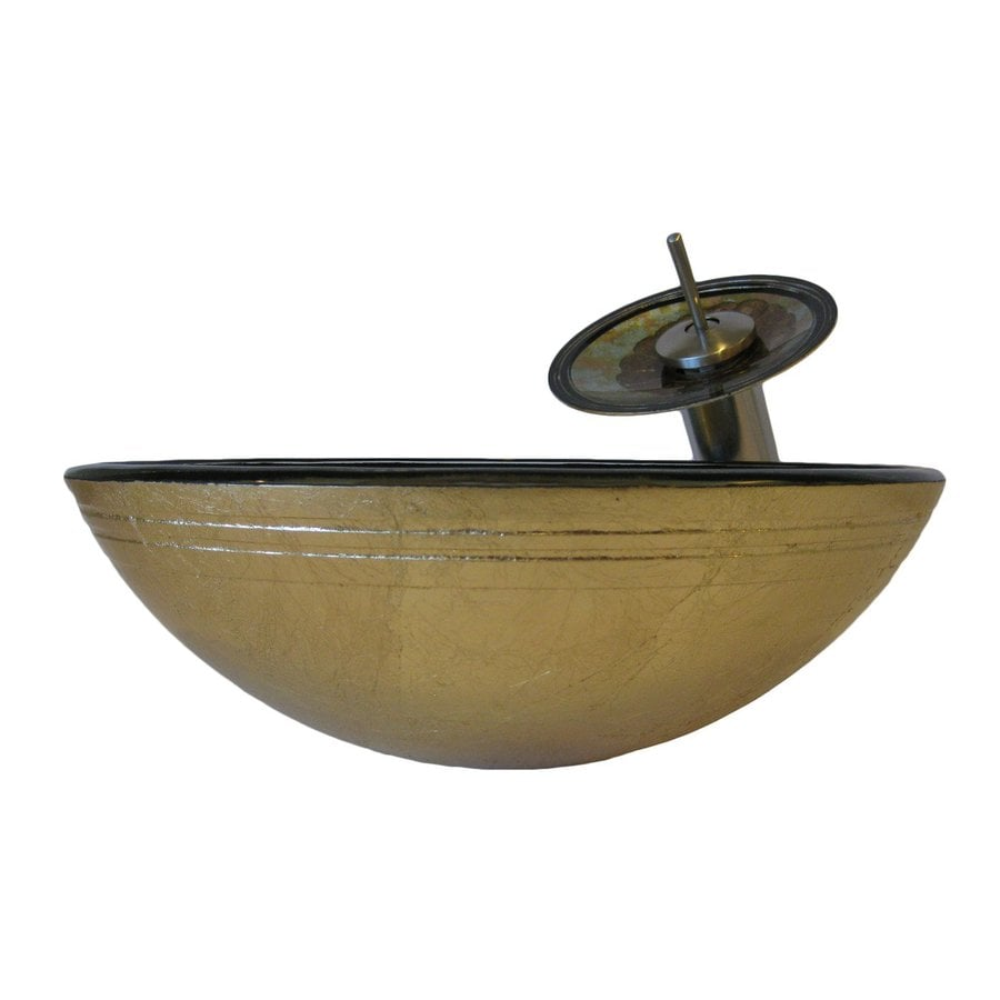 Novatto Celebrazione Blue/Brown/Pink/Yellow Tempered Glass Vessel Round Bathroom Sink with Faucet (Drain Included)