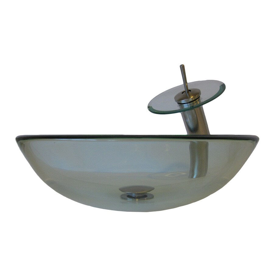 Novatto Bonificare Clear Tempered Glass Vessel Round Bathroom Sink with Faucet (Drain Included)