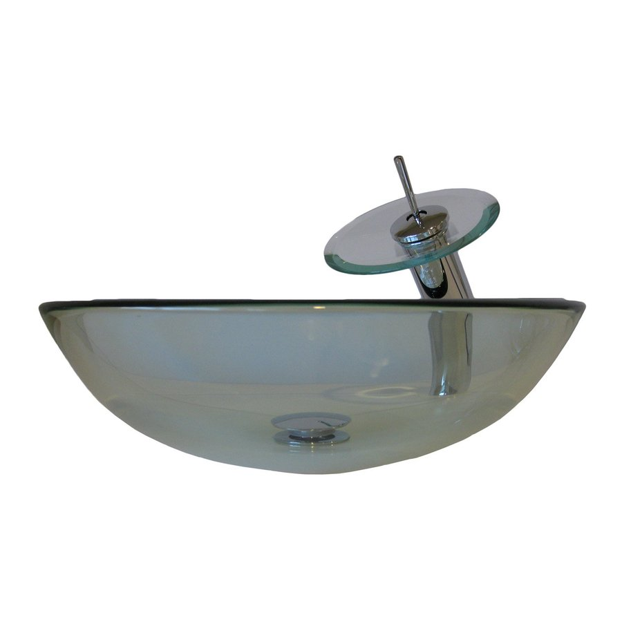 Shop Novatto Bonificare Clear Tempered Glass Vessel Round Bathroom Sink With Faucet Drain