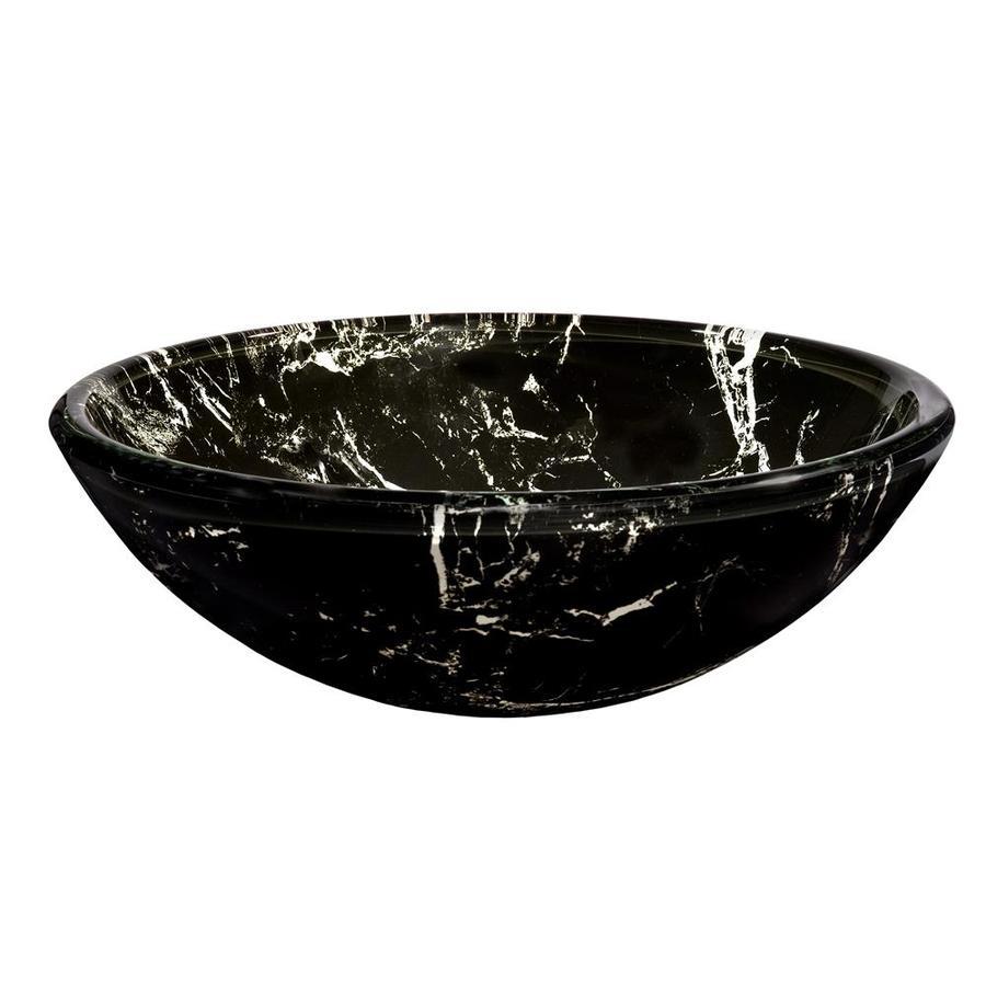 Novatto Pallina Black Tempered Glass Vessel Round Bathroom Sink
