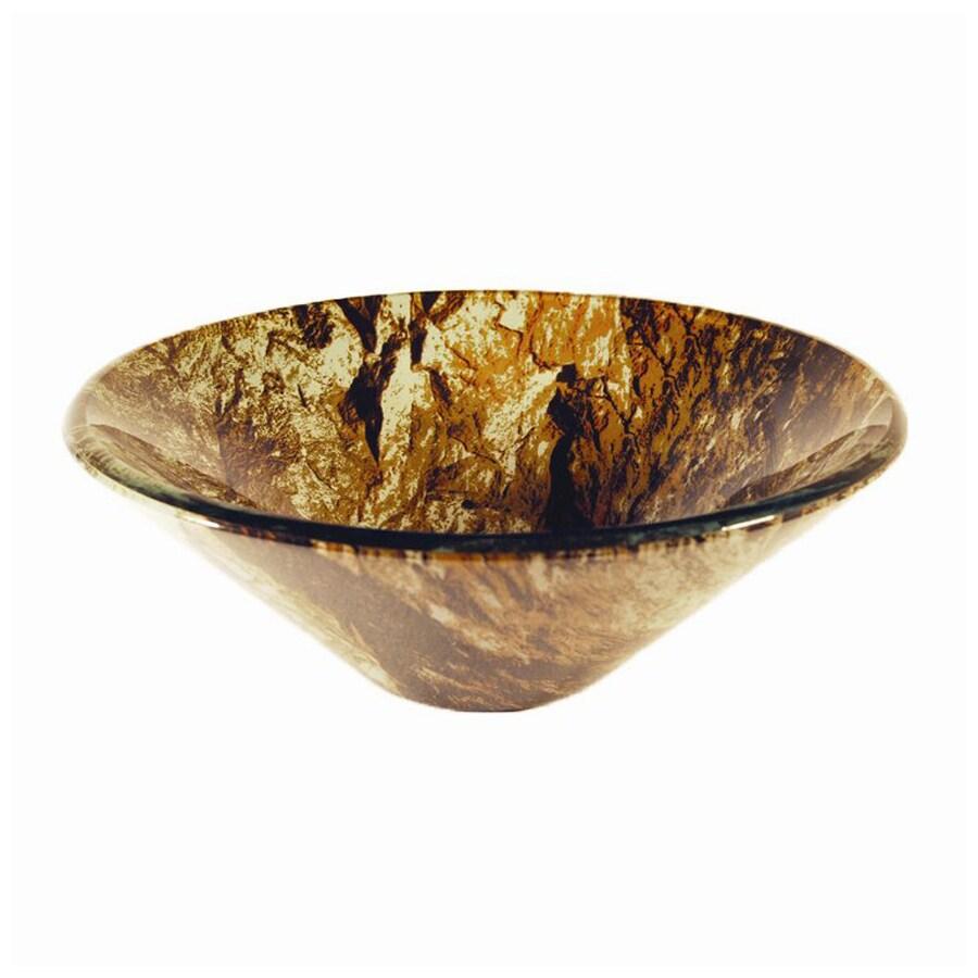 Novatto Mimetizzare Brown/Black/Tan Tempered Glass Vessel Round Bathroom Sink