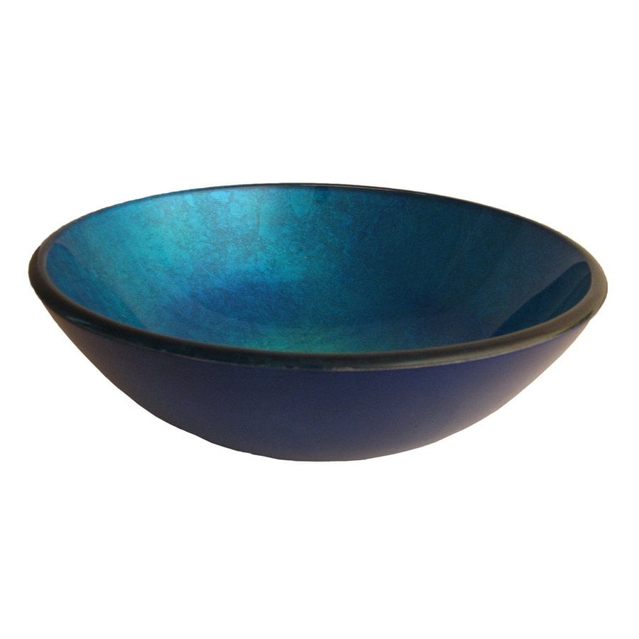 Tempered Glass Vessel Sink : Novatto Verdazzurro Blue Tempered Glass Vessel Round Bathroom Sink
