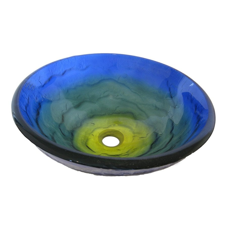 Novatto Mare Blue/Green/Yellow Tempered Glass Vessel Round Bathroom Sink