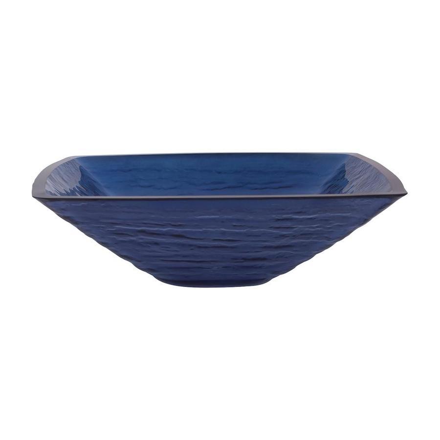 Novatto Fresco Dark Blue Tempered Glass Vessel Square Bathroom Sink