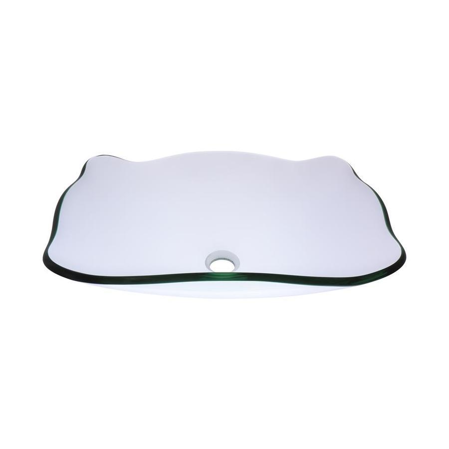 Novatto Elegante Clear Tempered Glass Vessel Rectangular Bathroom Sink