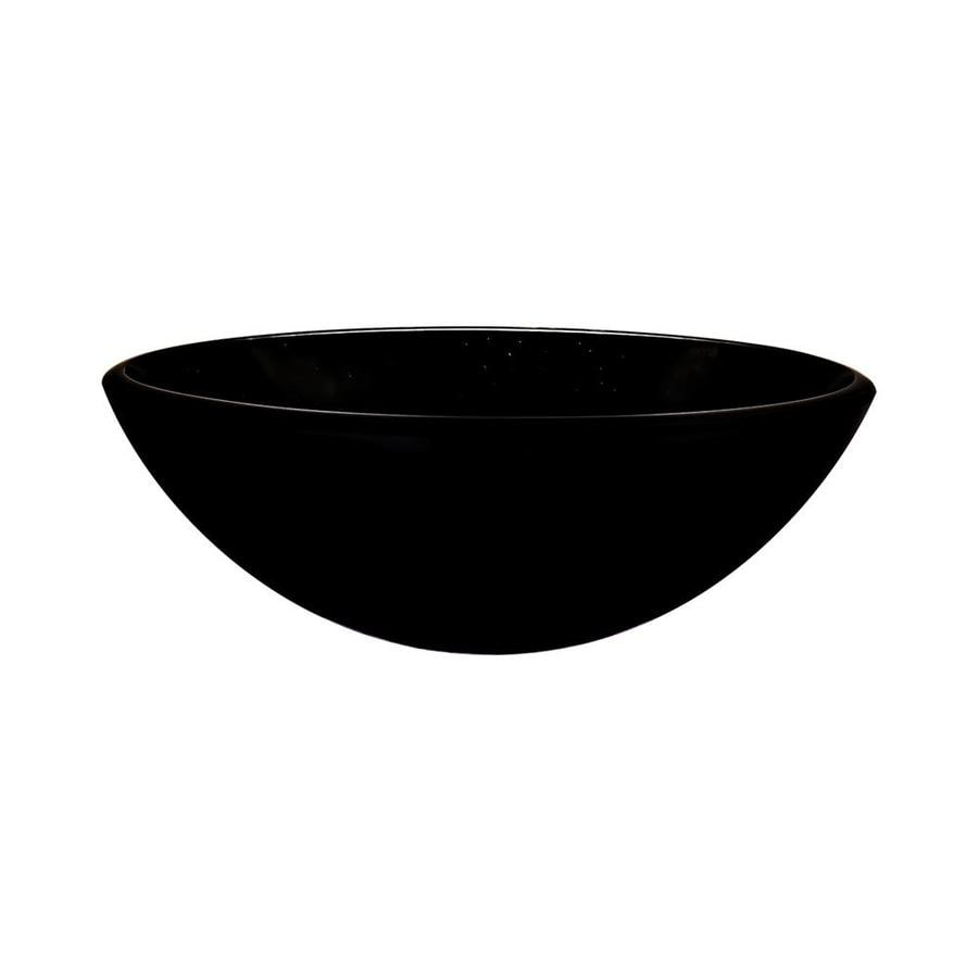 Novatto Galassia Black Tempered Glass Vessel Round Bathroom Sink