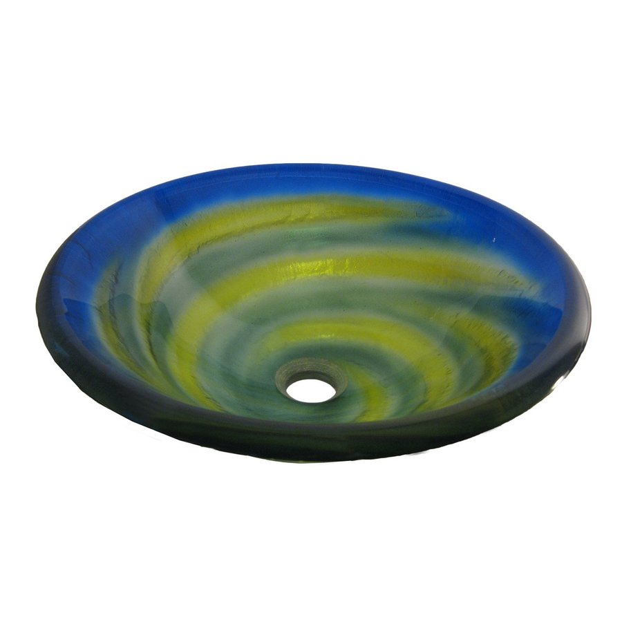 Shop Novatto Girata Yellow Blue Green Tempered Glass Vessel Round Bathroom Sink At