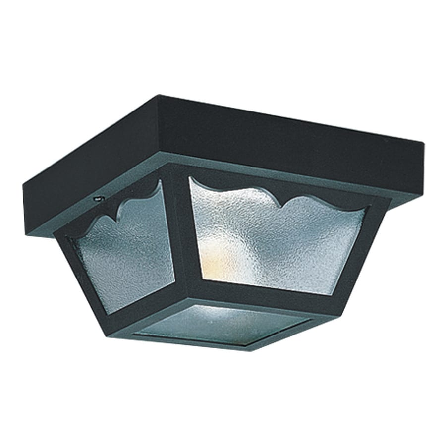 Sea Gull Lighting 8.25-in W Black Outdoor Flush-Mount Light