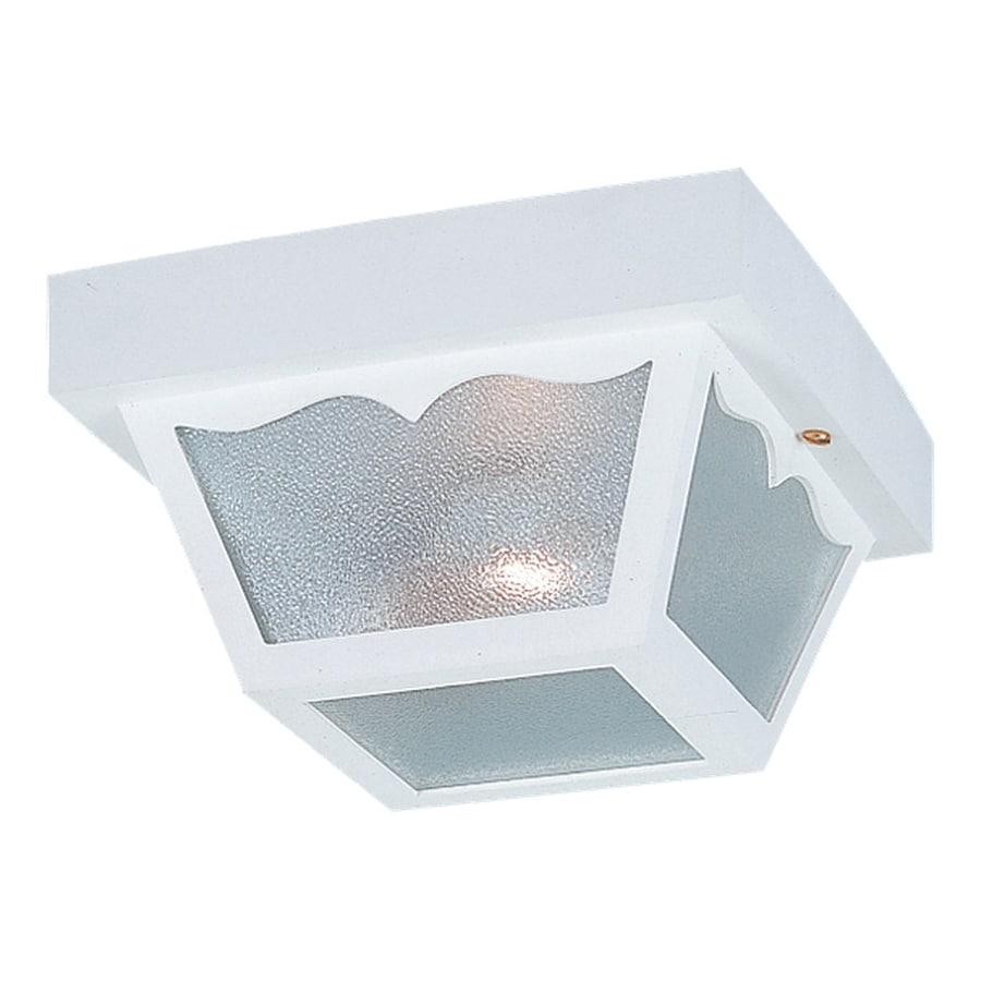 Sea Gull Lighting 10.25-in W White Outdoor Flush-Mount Light