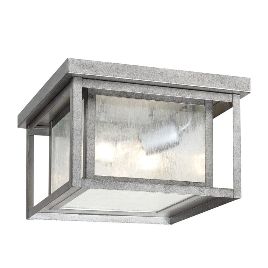 Sea Gull Lighting Hunnington 10-in W Weathered Pewter Outdoor Flush-Mount Light
