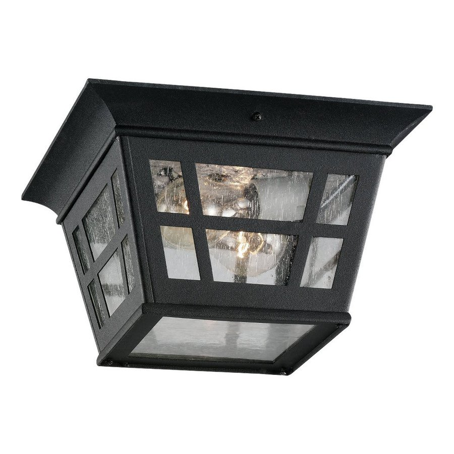 Sea Gull Lighting Herrington 10.75-in W Black Outdoor Flush-Mount Light