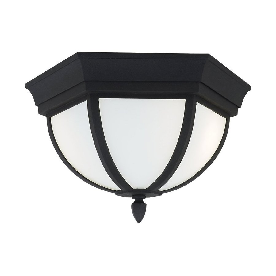 Sea Gull Lighting Bakersville 12.75-in W Black Outdoor Flush-Mount Light ENERGY STAR