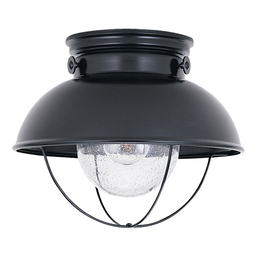 Sea Gull Lighting Sebring 11.25-in W Black Outdoor Flush-Mount Light