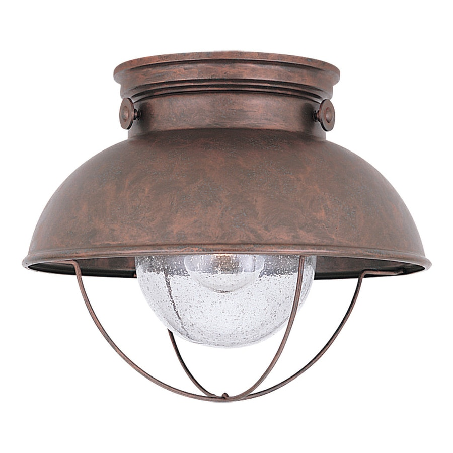 shop sea gull lighting sebring w weathered copper outdoor flush mount light at