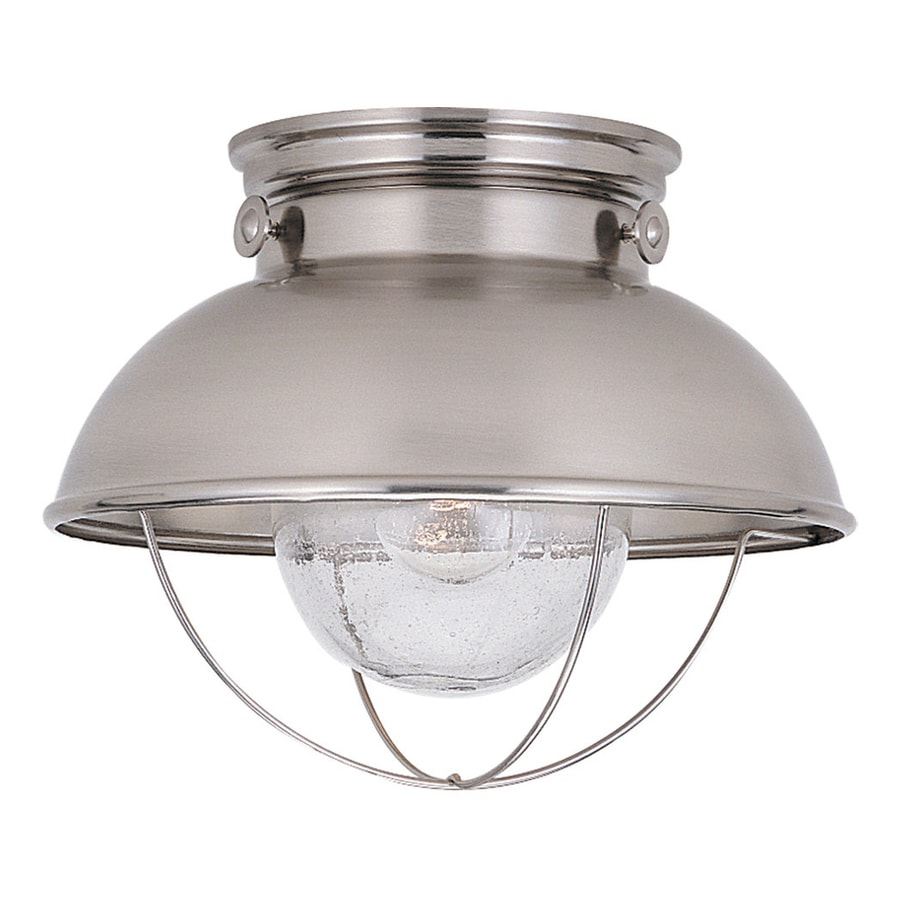 Shop sea gull lighting sebring 1125 in w brushed stainless sea gull lighting sebring 1125 in w brushed stainless outdoor flush mount light aloadofball Images