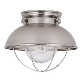 Shop outdoor flush mount lights at lowes sea gull lighting sebring 1125 in w brushed stainless outdoor flush mount light workwithnaturefo