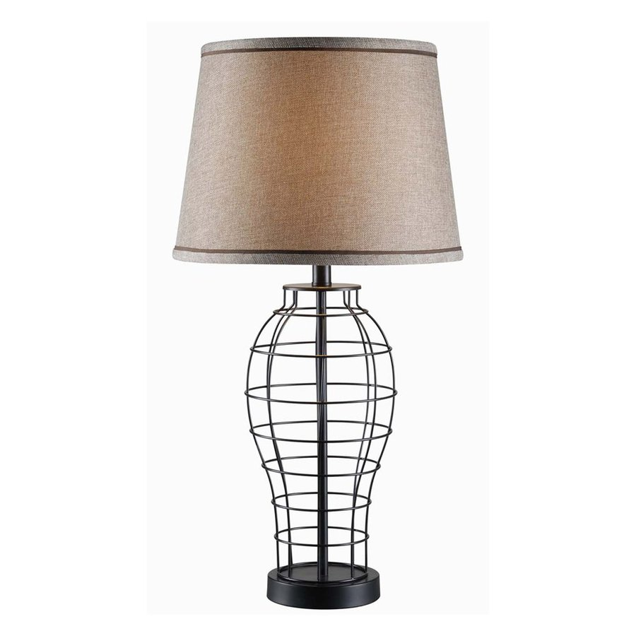 Kenroy Home Dresser 29-in 3-Way Black Table Lamp with Fabric Shade