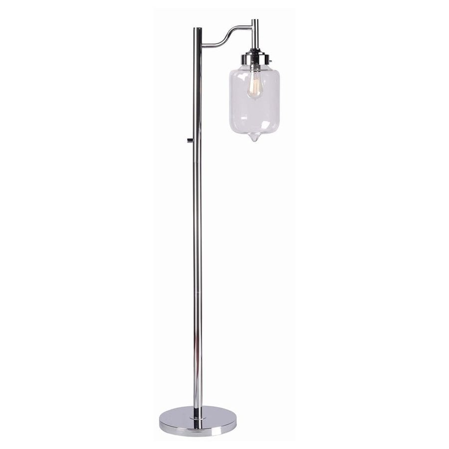 Kenroy Home Casey 57-in Chrome Downbridge Floor Lamp with Glass Shade