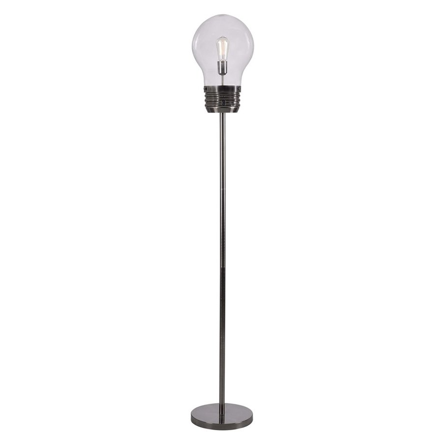 Kenroy Home Edison 72-in Antique Brass Novelty Indoor Floor Lamp with Glass Shade