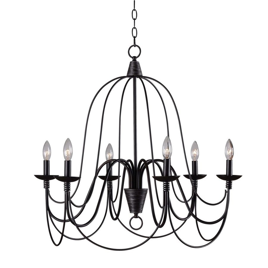 Kenroy Home Pannier 27-in 6-Light Oil-Rubbed bronze/silver Williamsburg Candle Chandelier
