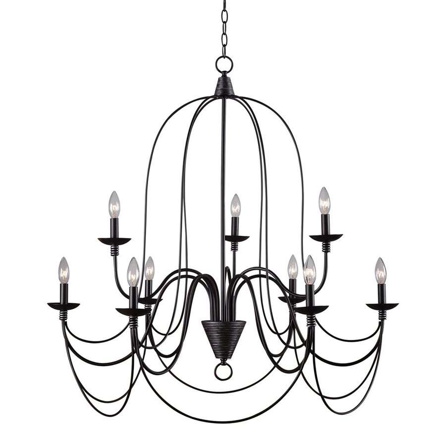 Kenroy Home Pannier 32-in 9-Light Oil-Rubbed Bronze/Silver Williamsburg Candle Chandelier