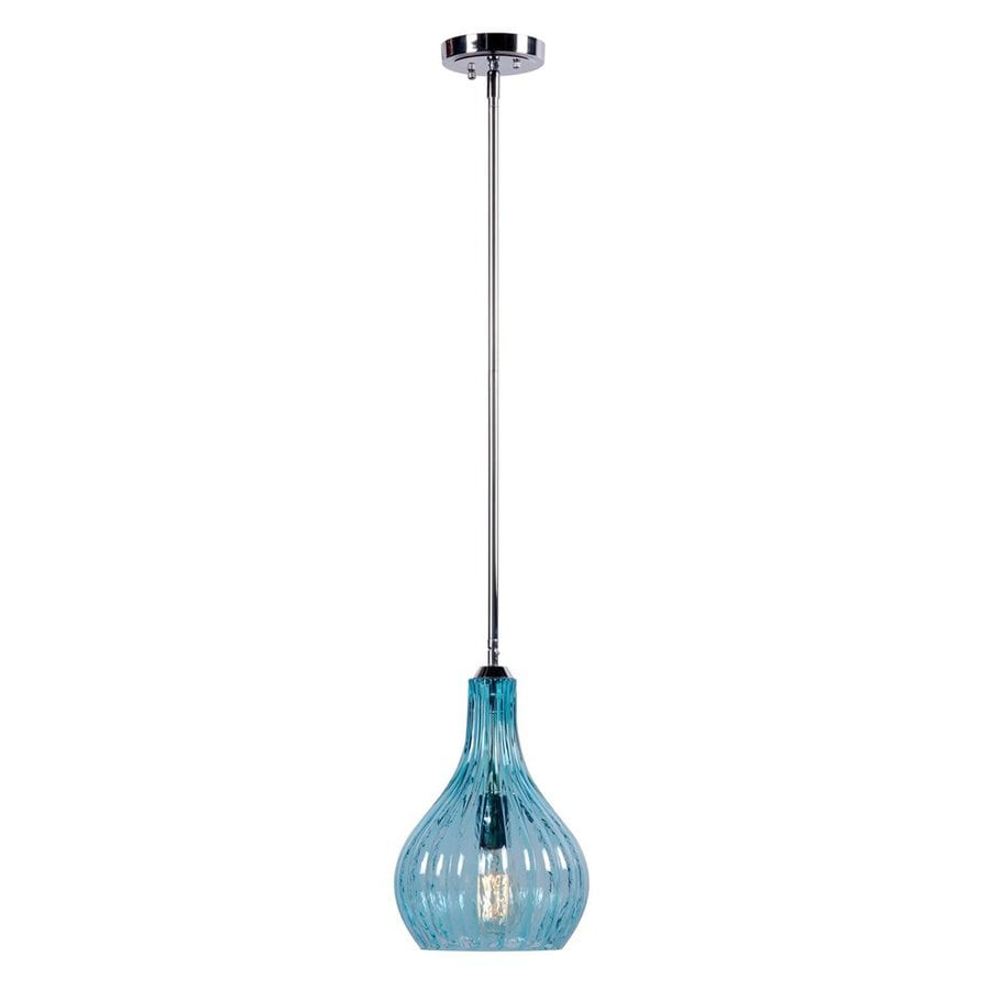 Kenroy Home Darcy 8.25-in Chrome Industrial Mini Ribbed Glass Teardrop Pendant