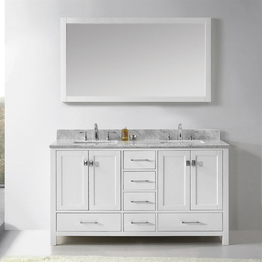Virtu USA Caroline Avenue White 60.8-in Undermount Double Sink Oak Bathroom Vanity with Natural Marble Top (Mirror Included)