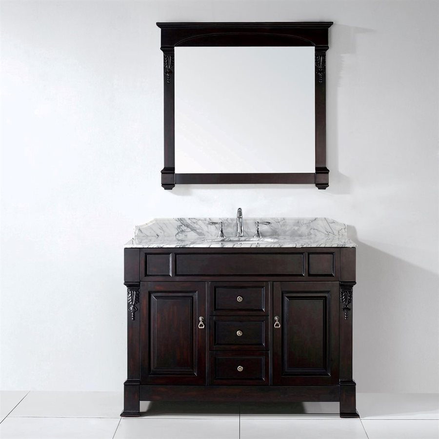 Virtu USA Huntshire Dark Walnut (Common: 47-in x 23-in) Undermount Single Sink Oak Bathroom Vanity with Natural Marble Top (Mirror Included) (Actual: 47.3-in x 22.5-in)