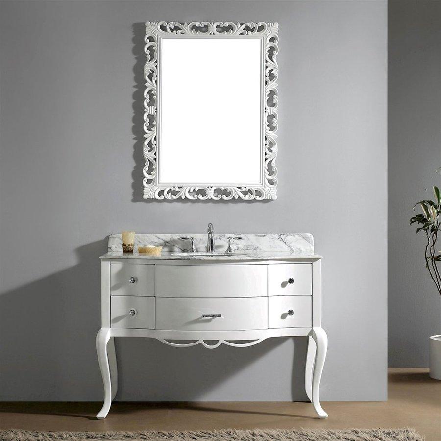 Virtu Usa Charlotte White Undermount Single Sink Oak Bathroom Vanity With Natural Marble Top Common
