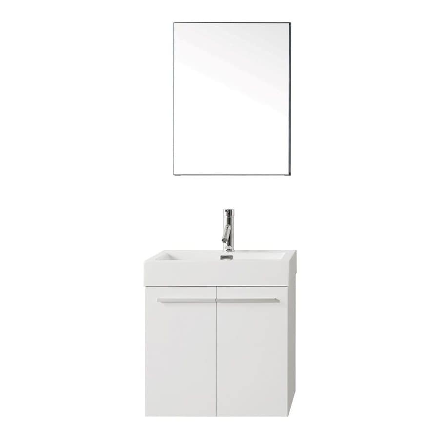 Virtu USA Midori Gloss White 23.2-in Integral Single Sink Bathroom Vanity with Polymarble Top (Faucet and Mirror Included)