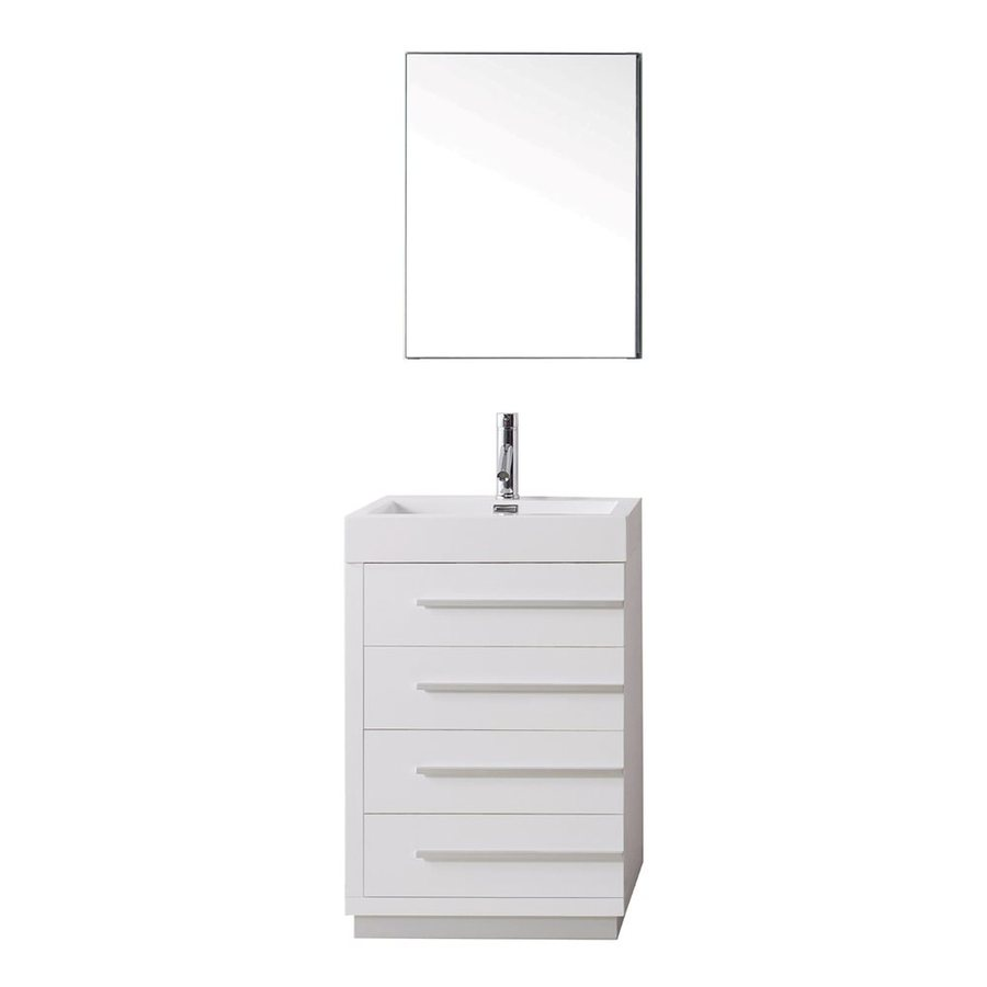 Virtu USA Bailey Gloss White 22.4-in Integral Single Sink Bathroom Vanity with Polymarble Top (Faucet and Mirror Included)