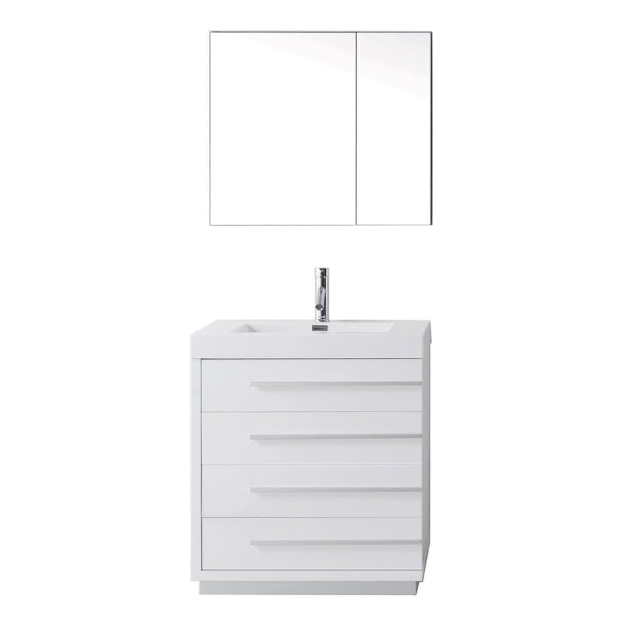 Virtu USA Bailey Gloss White Integrated Single Sink Bathroom Vanity with Polymarble Top (Common: 29-in x 19-in; Actual: 29.1-in x 19.2-in)