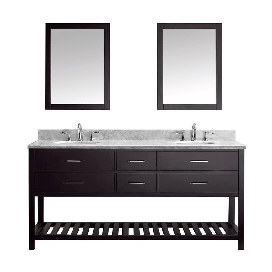 Virtu USA Caroline Estate Espresso Undermount Double Sink Bathroom Vanity with Natural Marble Top (Common: 73-in x 22-in; Actual: 72.8-in x 21.9-in)