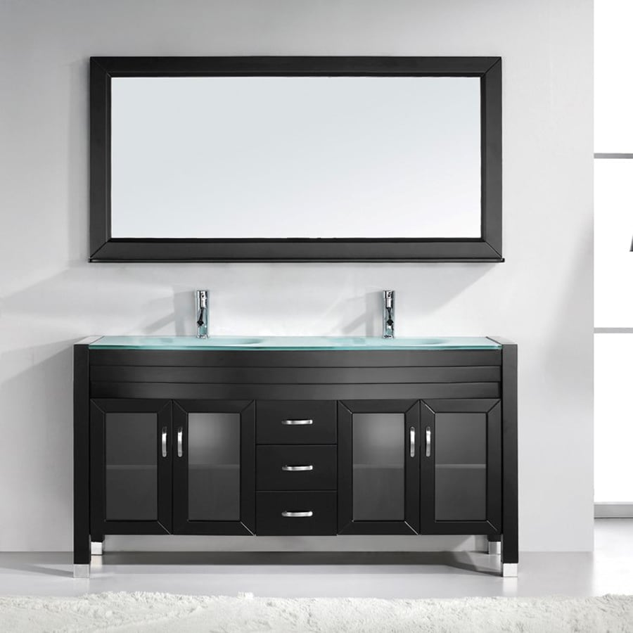 Virtu USA Ava Espresso 63-in Integral Double Sink Oak Bathroom Vanity with Glass Top (Faucet and Mirror Included)
