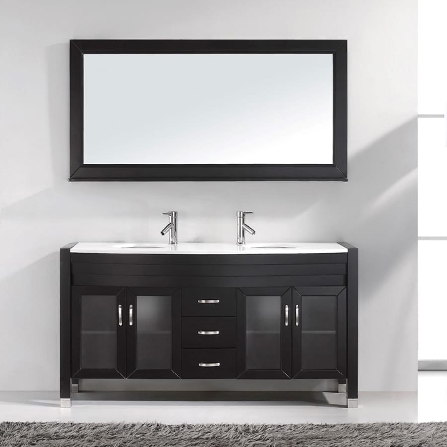 Virtu USA Ava Espresso (Common: 63-in x 22-in) Integral Double Sink Oak Bathroom Vanity with Engineered Stone Top (Faucet and Mirror Included) (Actual: 63-in x 21.7-in)