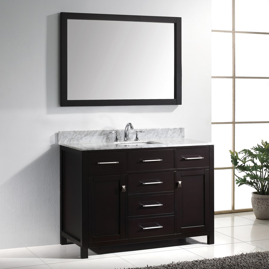 Virtu USA Caroline Espresso 48.8-in Undermount Single Sink Oak Bathroom Vanity with Natural Marble Top (Mirror Included)