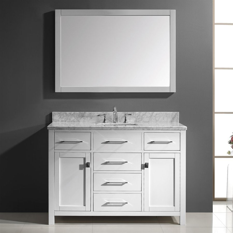 Virtu USA Caroline 48.8-in White Undermount Single Sink Bathroom Vanity with Natural Marble Top (Mirror Included)